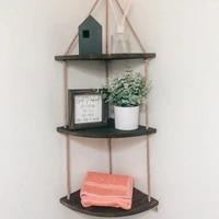 hanging corner shelf 3 tier jute rope wood wall floating shelves rustic organizer displays storage rack home decor for bedroom