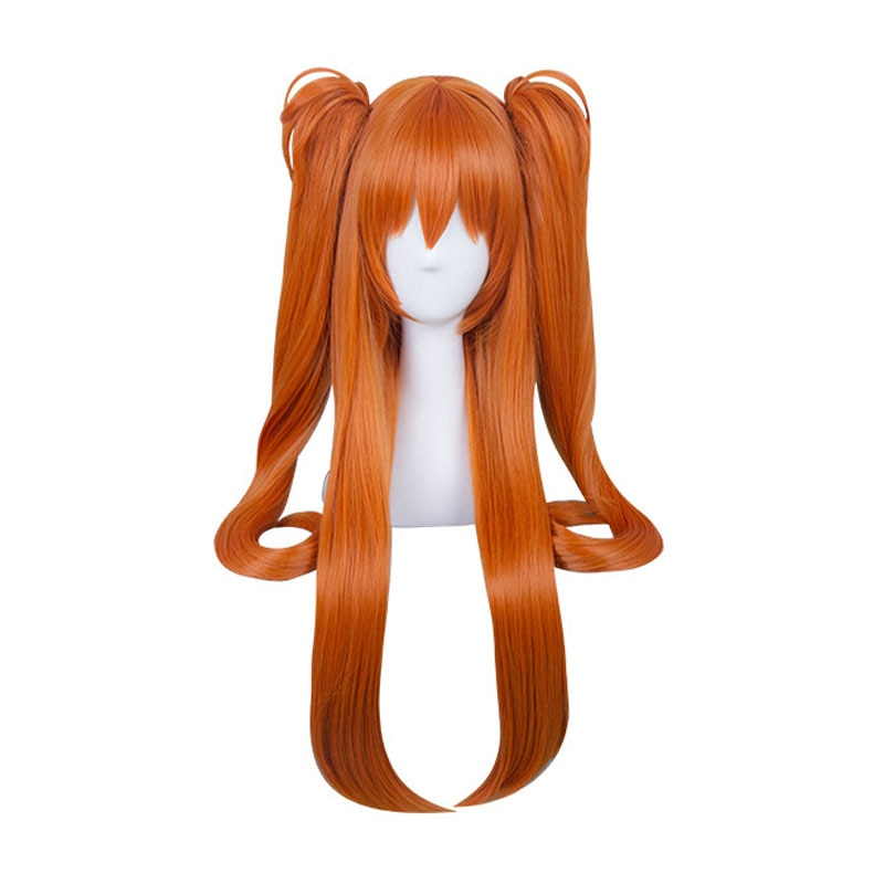 Anime EVA Asuka Langley Soryu Lange Orange Mit 2 Pferdeschwanz Clips Hitze Beständig Haar Cosplay Kostüm Perücke