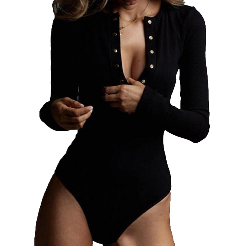 Sexy V Neck Knitted Bodysuit Women Black Long Sleeve Buttons Rompers Womens Jumpsuit 2021 Casual One-pieces Bodysuits Overalls bodycon black bodysuit autumn turtleneck long sleeve women bodysuits buttons casual skinny jumpsuit rompers womens