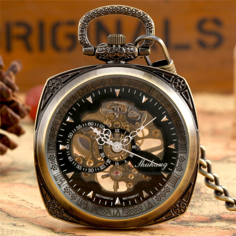 Bronze Square Case Men Women Handwinding Mechanical Pocket Watch with Pendant Chain Skeleton Clock for Unisex Relgio De Bolso
