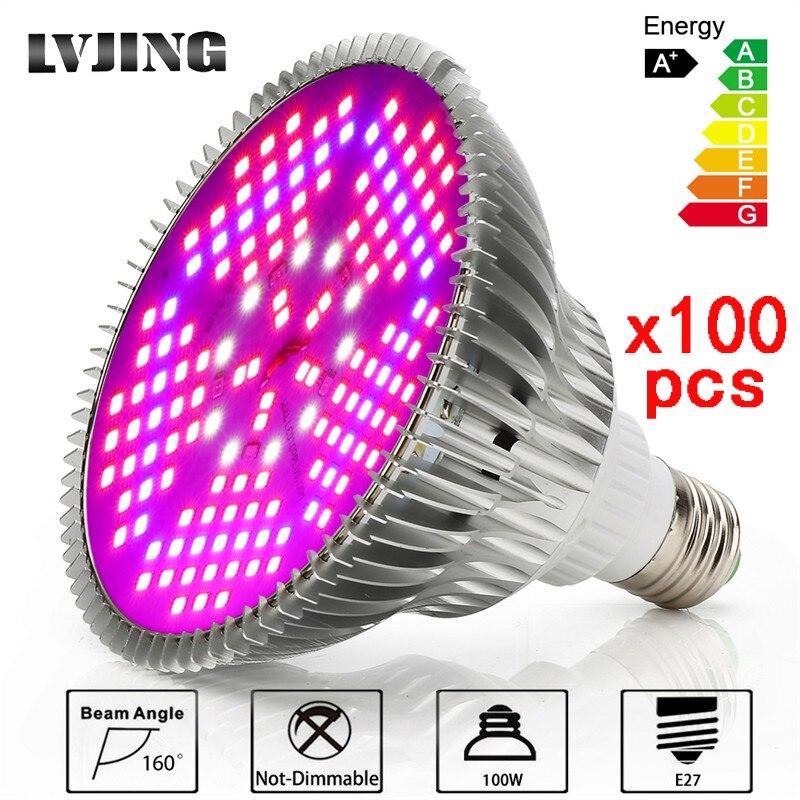 100PCS 150LEDs 100W Full Spectrum LED Grow Light For Indoor Plants Vegetable Greenhouse Hydroponic E27 Base grow light
