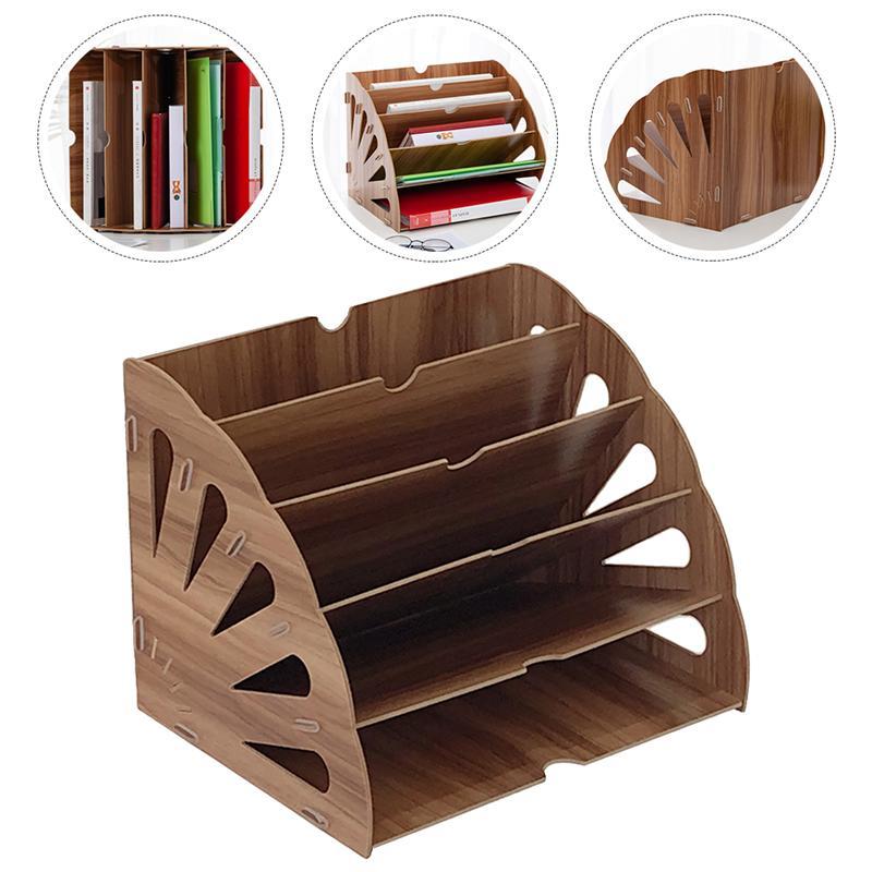 1pc Wooden Bookshelf Fan-shaped Storage Shelf Study Office Book File Shelf