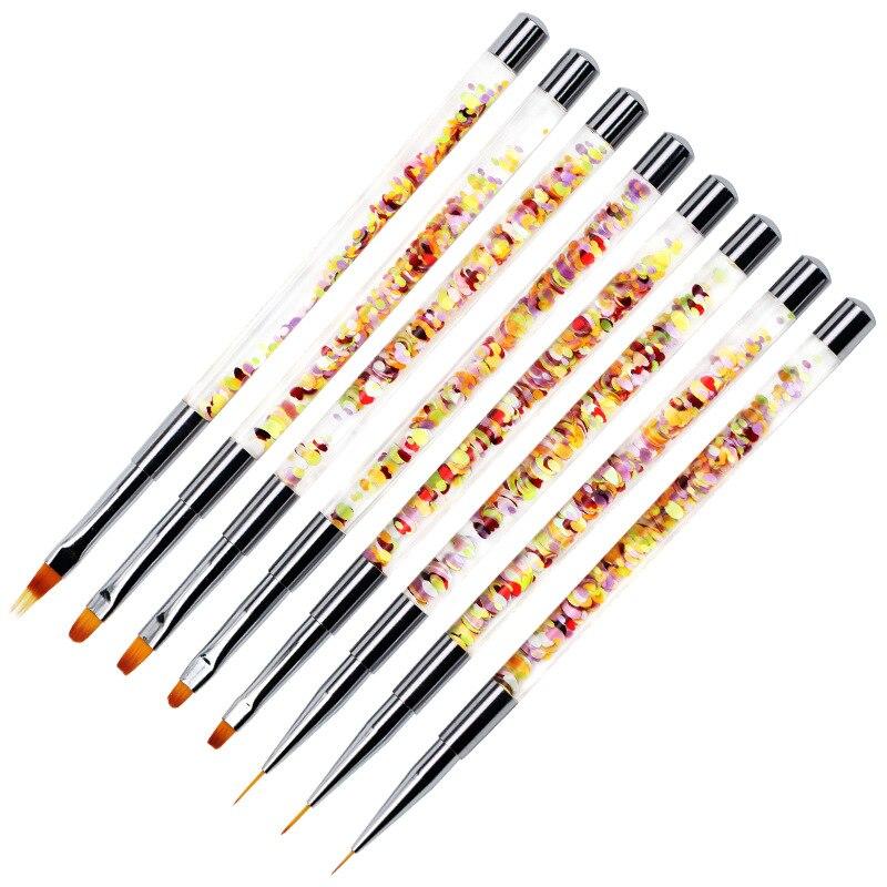 Mango de brillo líquido de cepillo de uñas acrílico para limpieza de polvo de manicura lápiz de uñas UV
