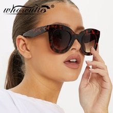 WHO CUTIE Oversized Cat Eye Flat Top Sunglasses Women 2019 Brand Design Gradient Lens Sun Glasses Re