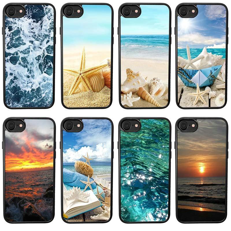Fundas de teléfono móvil de olas de estrella de mar de concha de mar fundas de plástico duro protectoras para iphone 4 4S 5 5S SE 6 6 6S 7 8 Plus caso
