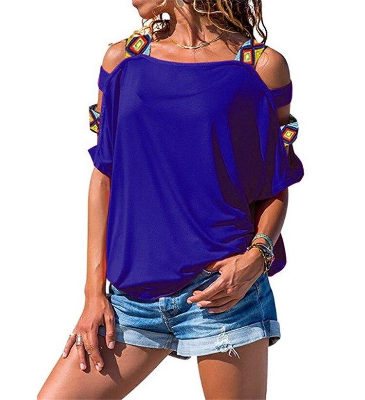 Harajuku camiseta mujer verano manga corta Sexy ahueca hacia fuera el hombro camiseta mujeres más tamaño Casual Tees Tops Streetwear WS9782X