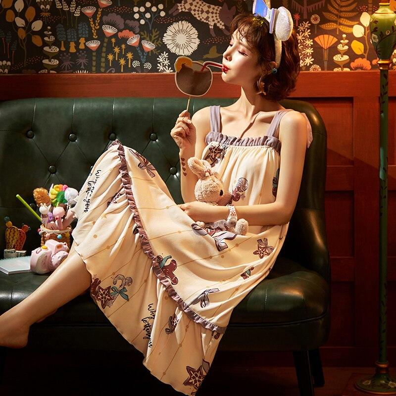 2021 New Women Print Cartoon Sexy Sleepwear Sling Lingerie Cute Night Dress Strap Thin Female Underwear Nighty Girl Home Wear