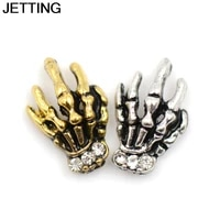 novelty diy nails silver gold alloy skull charms 3d nail stickers art supplies glitter rhinestones skeleton studs decorations