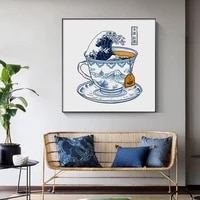 modern japanese pattern tea cup unicorn canvas painting posters and print wall art pictures for living room bedroom home deco