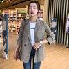 Plaid Retro Ladies Blazer Loose Casual Long Sleeve Suit Jacket Stylish Blazzer Mujer Spring Autumn Office Women Blazer MM60NXZ