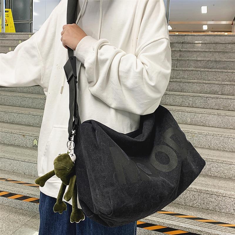 Bolsa de Ombro Marca Original Casal Japonês Moda Retro Preguiçoso Estilo Mensageiro Bolsa Rua Personalidade Menina Selvagem Lona