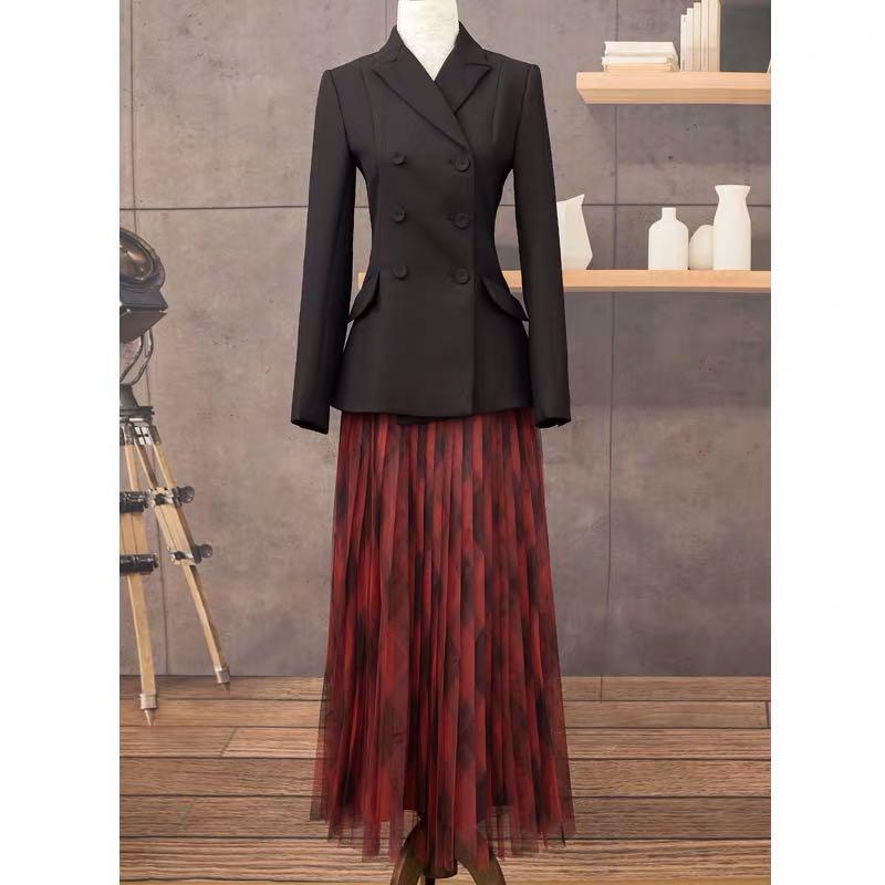 LouLan Queen Women's Fashion Office Runway Blazer Long Sleeve Double Breasted Jacket Designer Elegant Blazer Femme Ete