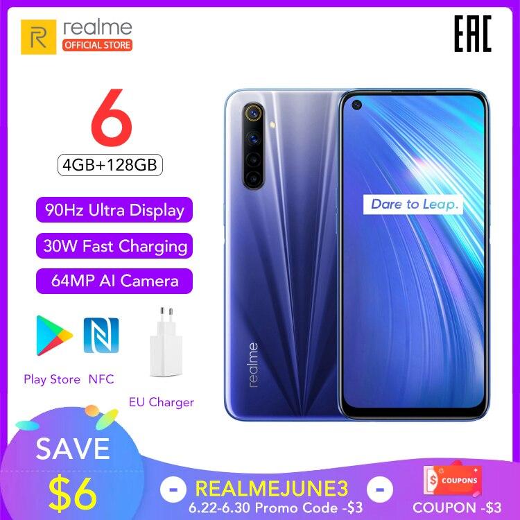 Realme 6 teléfono móvil versión Global 4GB RAM 128GB ROM teléfono móvil Helio G90T 30W carga de Flash 4300mAh batería 64MP Cámara NFC