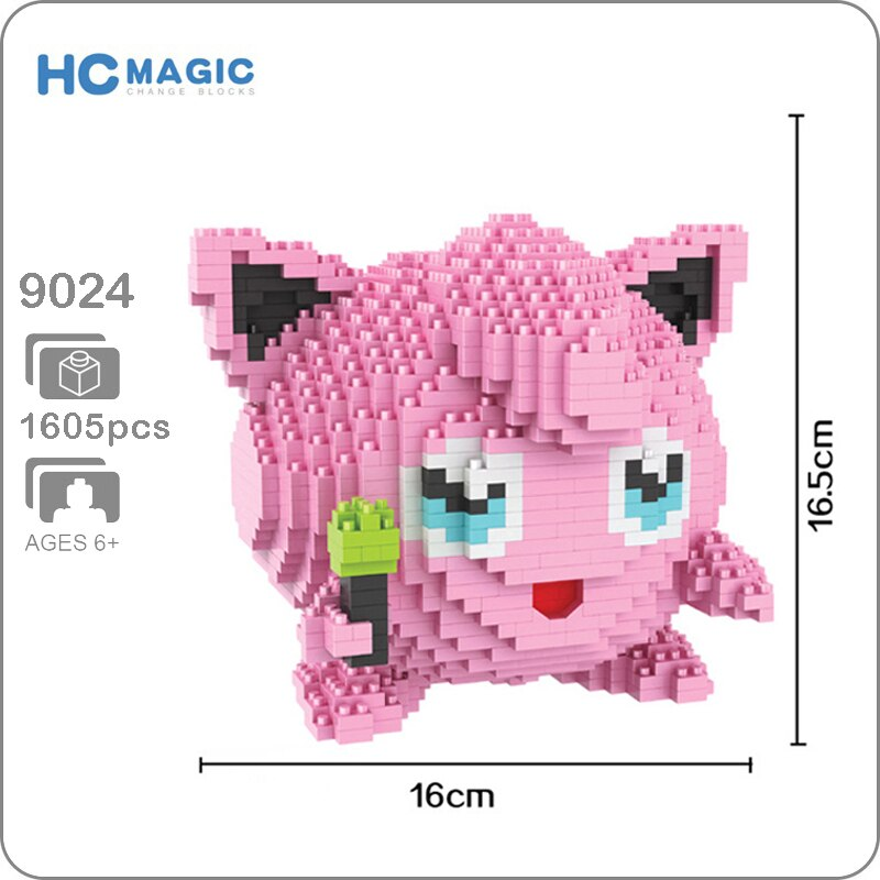 HC 9024 Jigglypuff Rosa 3D modelo 1605 piezas DIY Micro Mini diamante construcción bloques pequeños conjunto de bloques de juguete sin caja