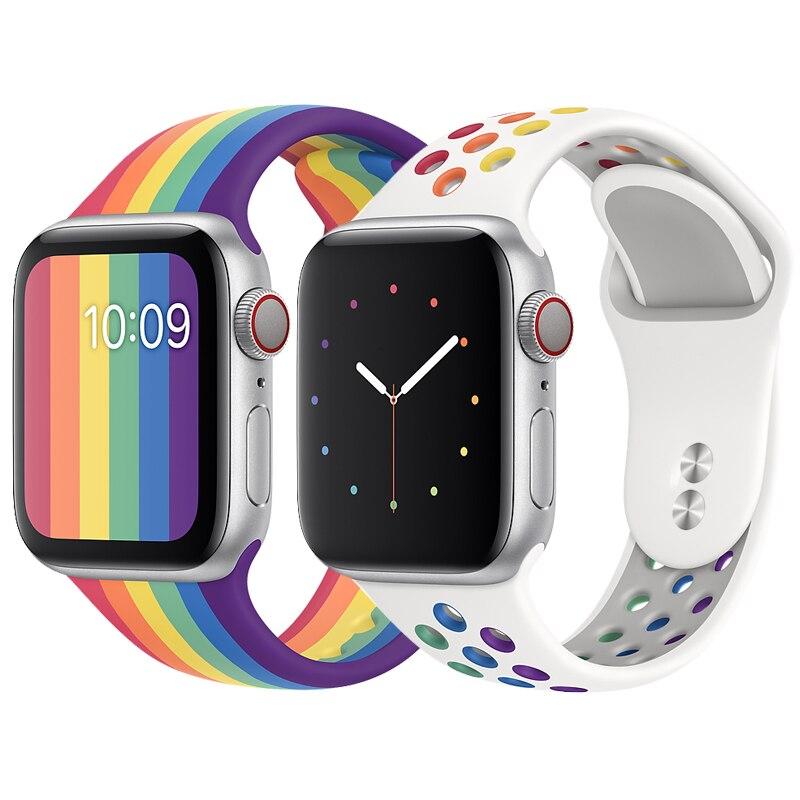 Correa para apple watch 5, edición Pride, correa de silicona de 44mm y 40mm para iwatch de 42mm y 38mm, correa para apple watch 5 4, 3, 2, 40 y 44