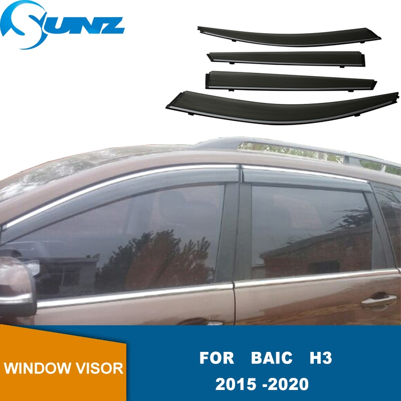 Window Visor Side Sun Rain Protection Shield Exterior Body Decoration Accessories For Baic H3 2015 2016 2017 2018 2019 2020 SUNZ