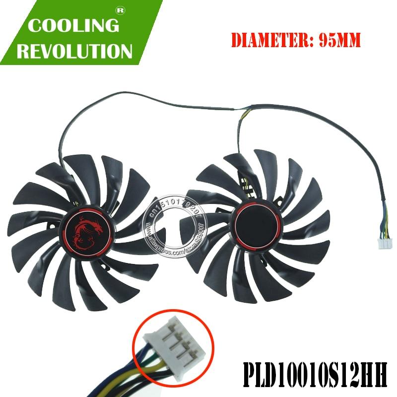 2 PÇS/SET 980Ti PLD10010S12HH gráficos ventilador para MSI GTX 980 970 960 950 R9 380 R9 390 R9 390X
