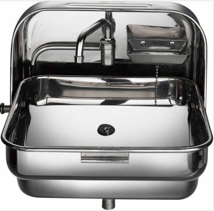 Stainless Steel Folding Sink with Water Faucet for RV Caravan Boat Train Hospital GR-595