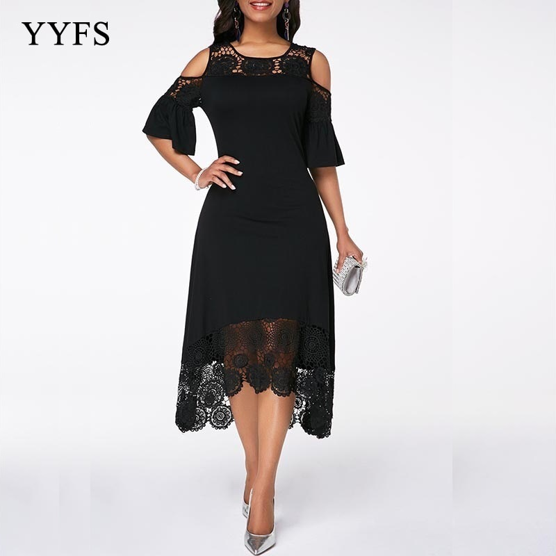Mujeres hombro frío Flare puño encaje Panel vestido mujeres verano otoño gran tamaño vestido elegante encaje vestido femenino talla grande s-5XL
