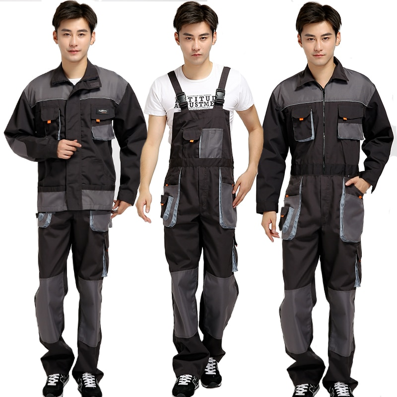 Bib overalls men work coveralls protective repairman strap jumpsuits pants working uniforms plus size 4XL sleeveless coverall unisex siamese overalls auto repair work clothes sleeveless protective coverall dancing strap jumpsuits working uniforms 2019