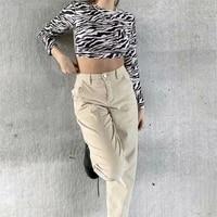 womens 2021 summer fashion zebra pattern short long sleeve round neck top sexy backless hem elastic band shirt street wear
