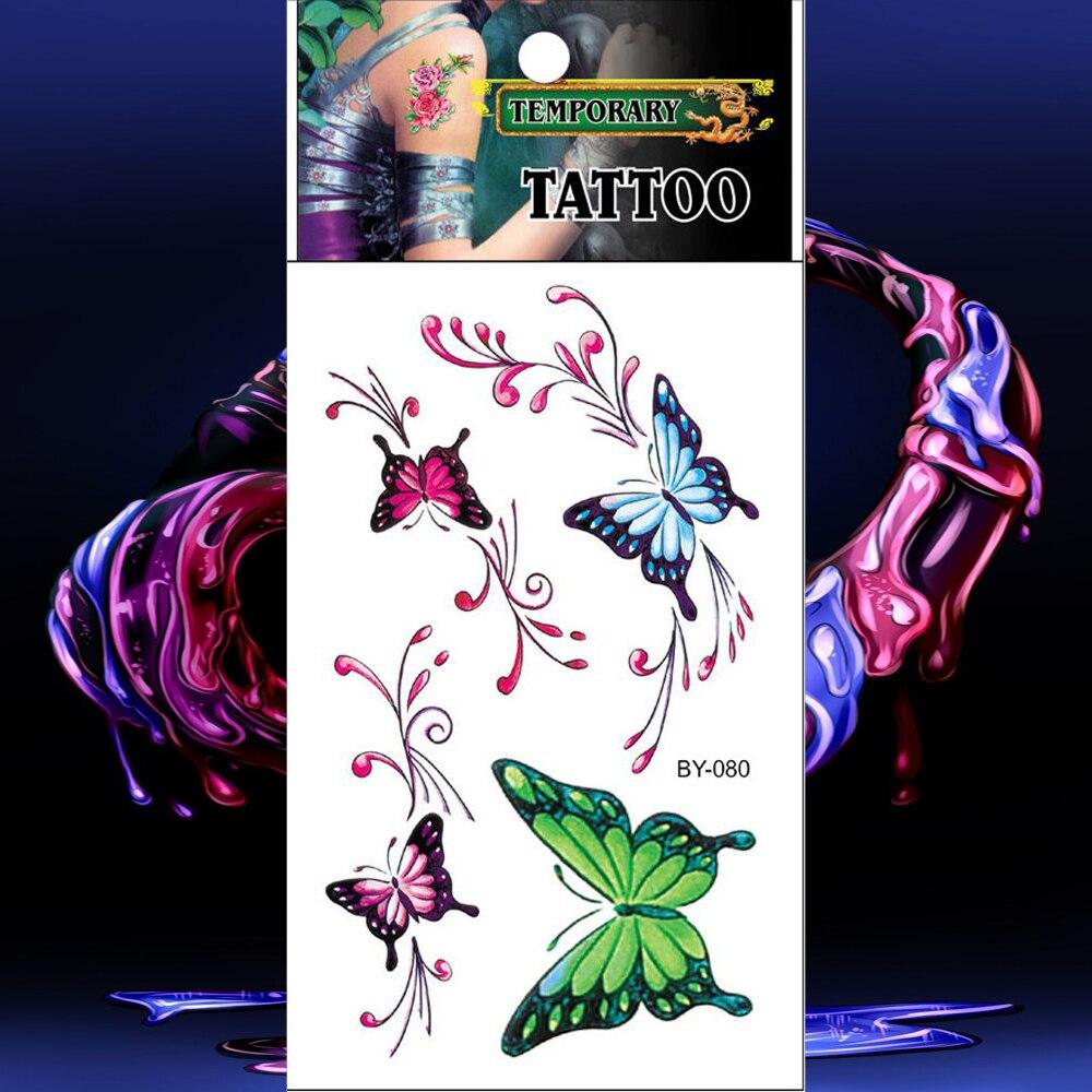 À prova dwaterproof água tatuagens coloridas tatuagem temporária etiqueta verde vermelho azul borboleta falso tatto masculino mulher tatouage mão braço peito