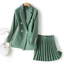 Ensembles femme Chic simple bouton solide Blazer taille haute jupe plissée deux pièces ensemble mode femmes 2 pièces jupe ensembles