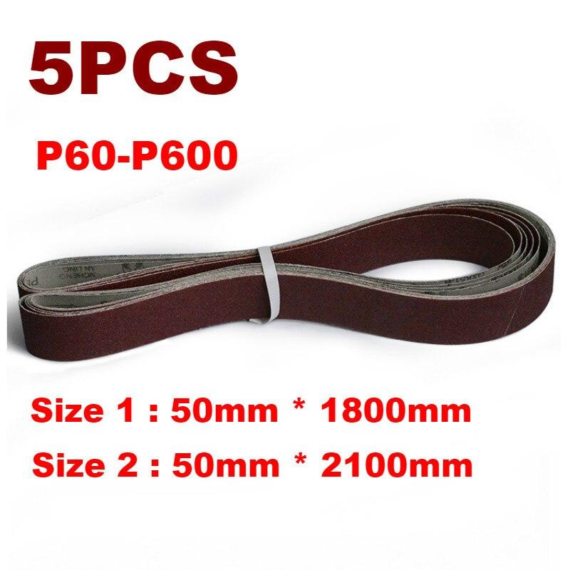5 uds 50*1800mm 50*2100mm A/O correas de lijado abrasivas P60-600 accesorios de amoladora de cinta de molienda gruesa A fina
