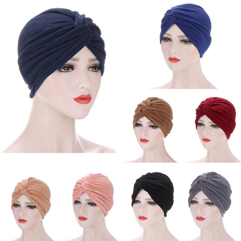 Women Hat Pleated Turban Muslim Chemo Cap Underscarf Headwear Fashion Beanie Headwrap Sleep