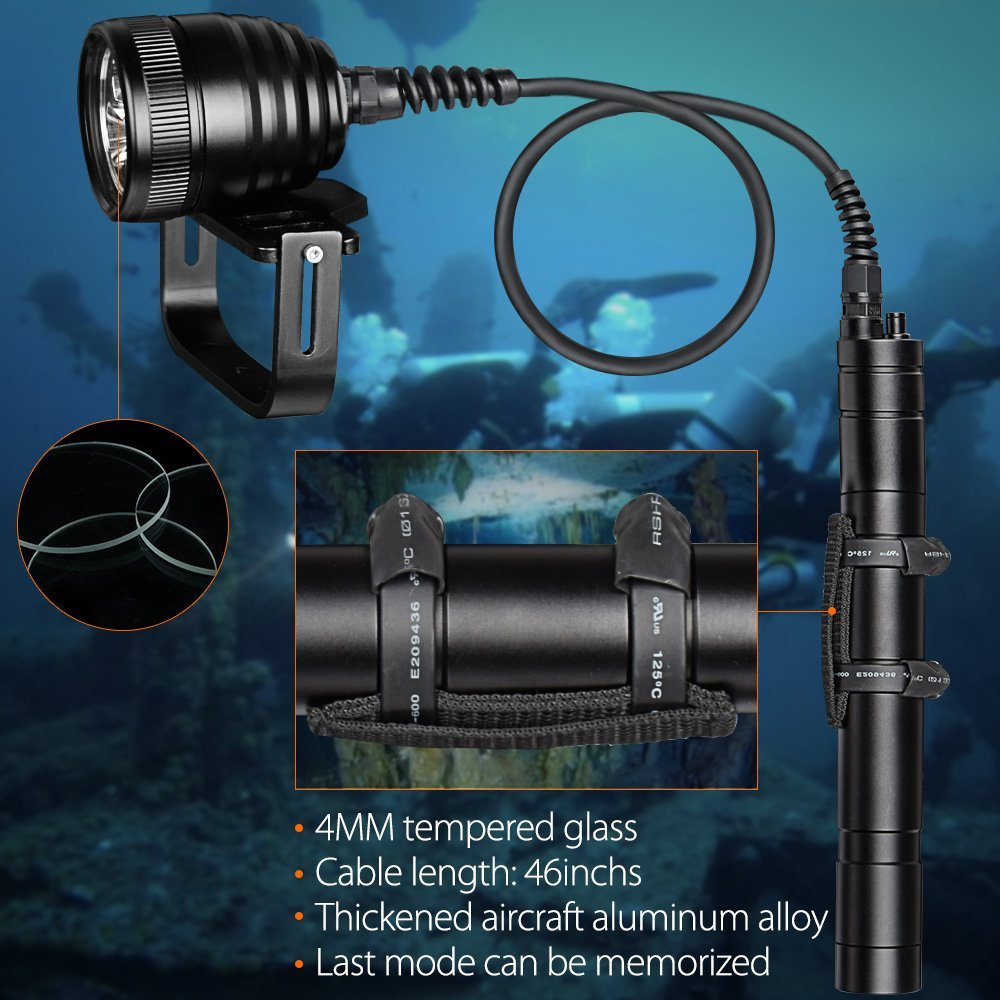 Scuba Glare Diving Flashlight Waterproof Underwater Video 150M Powerful Canister Split Type XM-L2 Dive Torch with 1.2 / 2 M Line enlarge