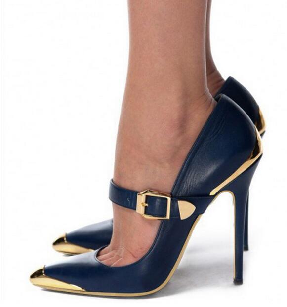 Женские туфли с ремешком на щиколотке, с пряжкой, на высоком каблуке 10 см, с острым носком, 24 смешанных цвета