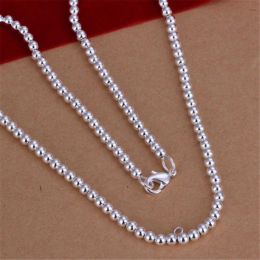 Gran oferta de collar de cuentas de 4MM de color plateado de moda para hombre y mujer, regalo de bodas, joyería de tendencia noble N114