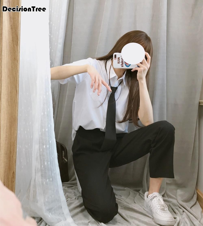 2020 estilo japonés estudiantes chicas camisa blanca jk uniformes escolares símbolo corbata mujeres casual uniformes escolares pantalones conjuntos