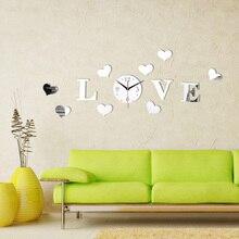 Autocollant de montre romantique miroir   Étiquette murale, en verre acrylique, argent bricolage, horloge de sol 3D, décoration de maison