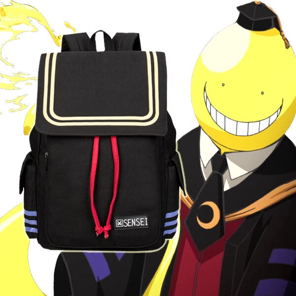 Anime asesinato aula Korosensei dibujos animados bolsas mochila lona estudiante escuela Unisex Cordón de gran capacidad