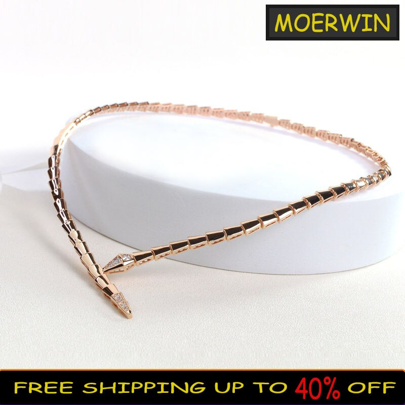 New Sterling Silver S925 Necklace Simple Fashion Snake-shape Necklace For Women's Charm Clavicle Chain Luxury Brand Jewelry Gift