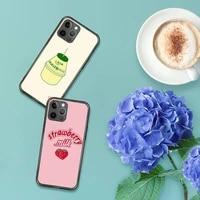 cute strawberry milk pattern phone case for iphone 7 8 11 12 x xs xr mini pro max plus retro black grey clear transparent