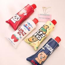 Creative dentifrice forme école trousse à crayons animaux Fruits stylo sac Kawaii coréen papeterie bureau fournitures scolaires