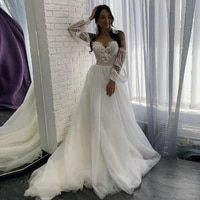kapokdressy off the shoulder wedding dress 2021 new appliques lace a line tulle beach wedding gown puffy sleeves bridal gowns