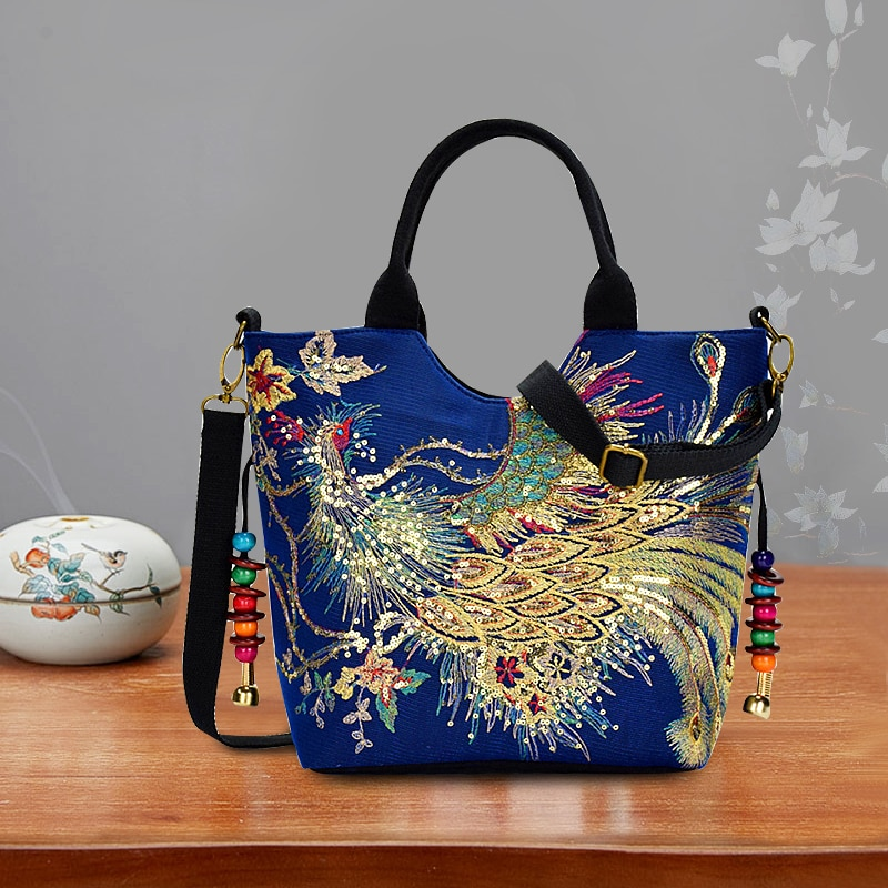 Women Shoulder Bag Handmade Embroidery Peacock Bohemia Ethnic Style Retro Handbag Large Capacity Tote Messenger Bag for Girl