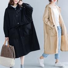 BIG SIZE 4XL Spring Autumn Women Fashion Windbreaker Waistcoat Ladies Female Plus Large Long Trench Drawstring Outwear Suit Coat