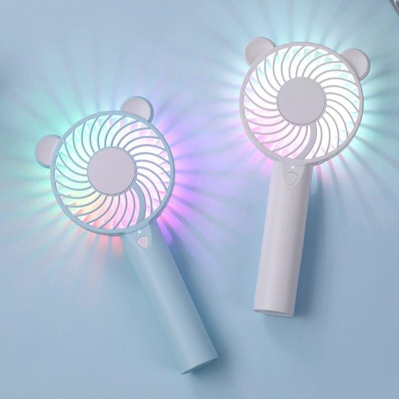 Медвежонок воздушный вентилятор милый мультфильм ручной USB перезаряжаемые Вентиляторы LED свет портативный вентилятор воздушного охлаждения мини вентилятор portatil Настольный