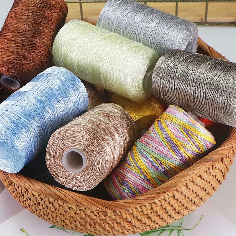 Fine Ice Silk Ice Hemp Bright Silk Hollow Light Body Line Summer Sun Hat Hand Braided Diy Hook Bag Slippers Cushion Wool