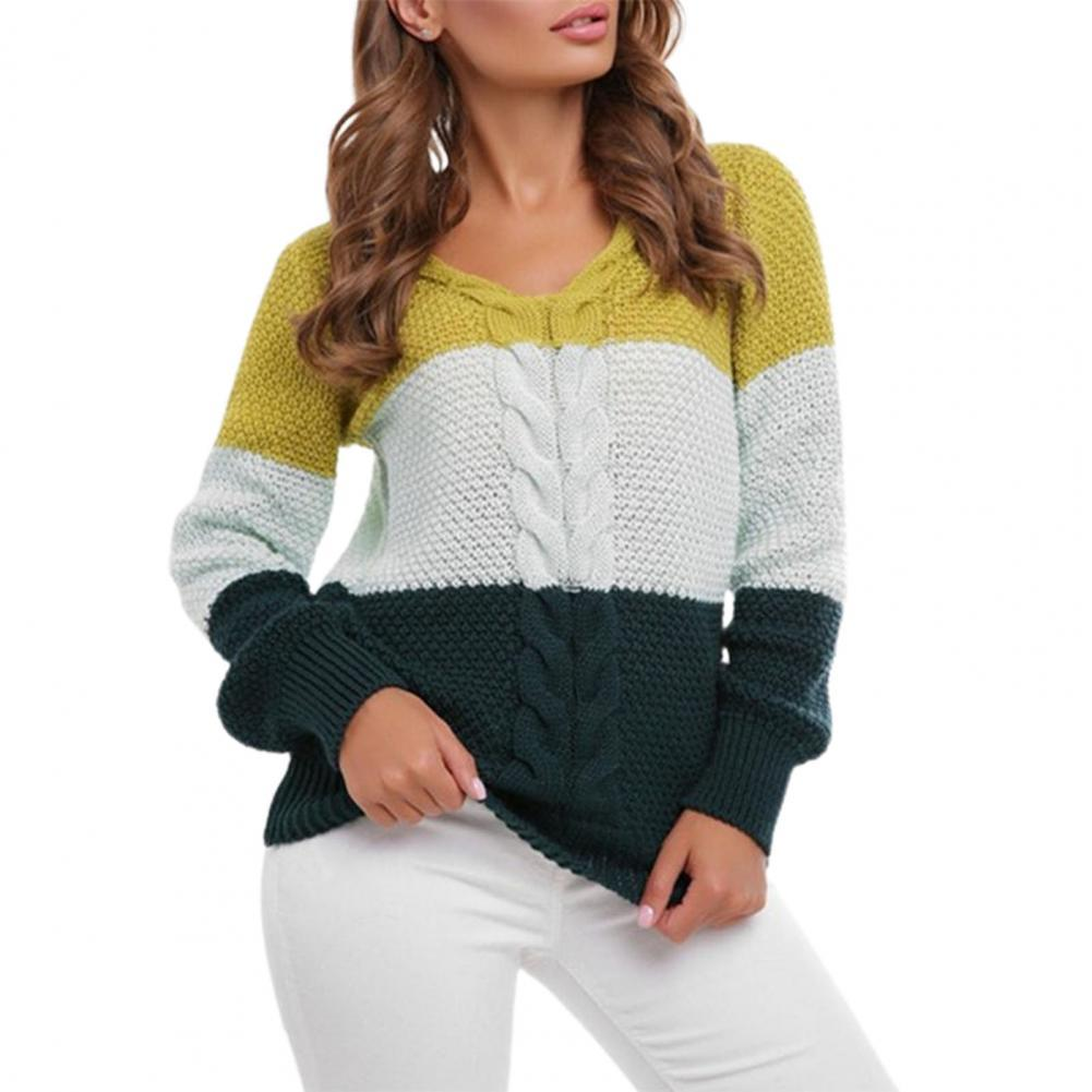 50% Dropshipping!!V Neck Knitted Top Long Sleeve Pullover Color Block Knitted Jumpers Women Knitwear Sweater for Daily Wear brief round collar color block knitted women pullover