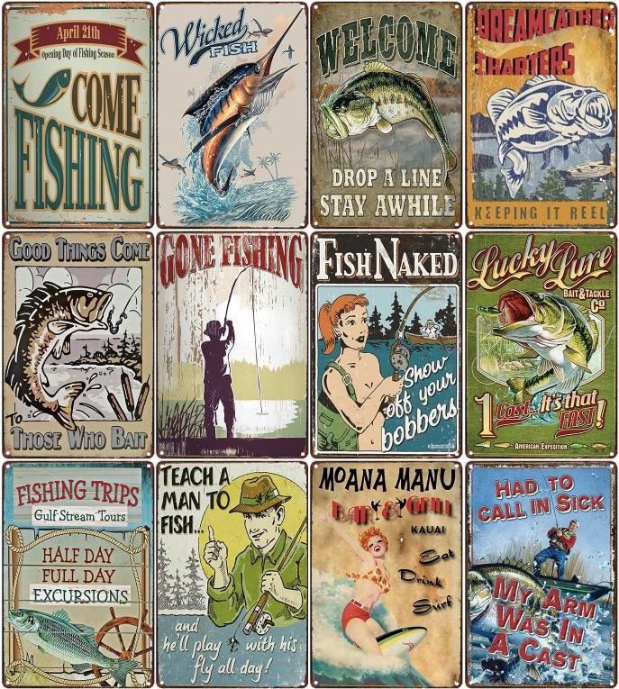 Gone Fishing Vintage Metal Tin Signs Bar Pub Home Decor Animal Wall Decoration Iron Painting Fish Retro Plaque Art Poster