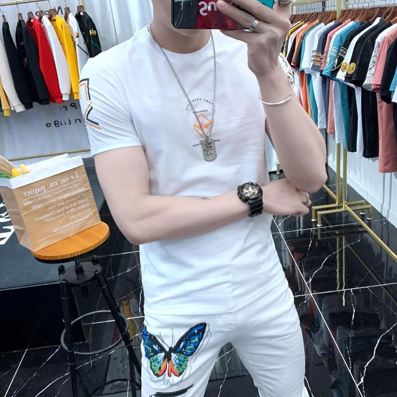 Spring and Summer Tide Brand Printed Short-sleeved T-shirt Men's Korean Slim Body Shirt Round Neck Small Shirt Ins Half Sleeve