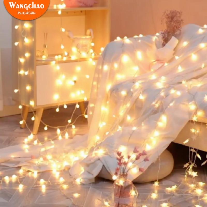 Tira de luces LED de estrellas romántica de 1,5 M, luces LED de hadas, decoración para fiesta de cumpleaños, batería de funcionamiento de luces parpadeantes