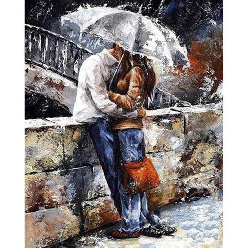 Cuadro cuadrado completo 5D DIY pintura de diamante pareja besándose bajo la lluvia bordado punto de cruz mosaico cuadro decorativo regalo