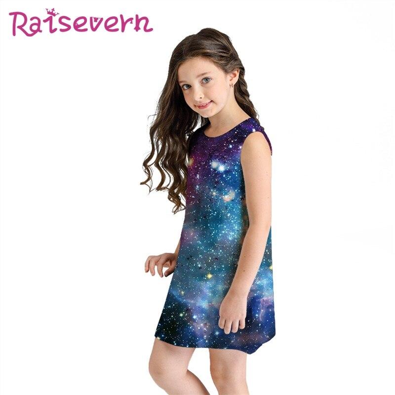 Raisevern Espaço Galaxy Imprimir Sem Mangas Roupas 2019 Meninas Crianças Vestido de Verão Mini Vestidos De Praia Crianças Vestido de Festa Da Princesa