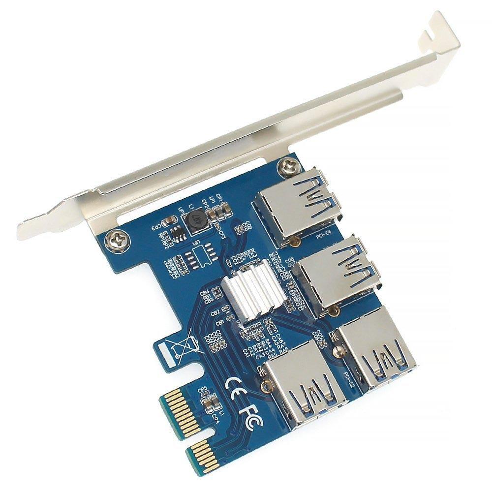 PCIE 1 TO 2/4 PCI Express 1X Slots Riser Card Mini ITX To External 4 PCI-E Slot Adapter PCIe Port Multiplier Card For BTC LTC недорого